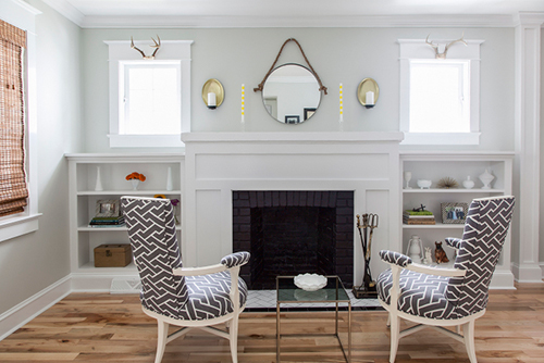 Bright, clean, and serene. And can we talk about the modern fabric on these vintage chairs?  {Design*Sponge}