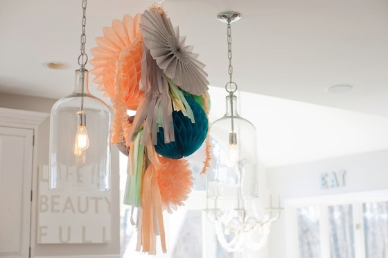 Kitchen pendants accompanied by party finery