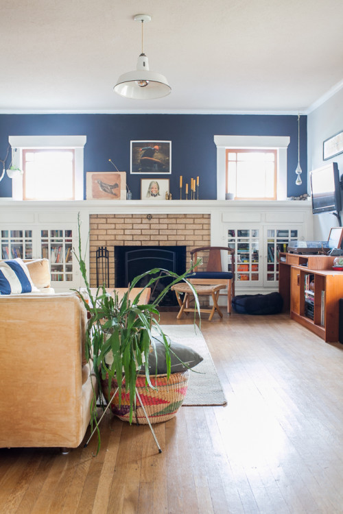 White and navy Craftsman fireplace. A study in beautiful contrast.